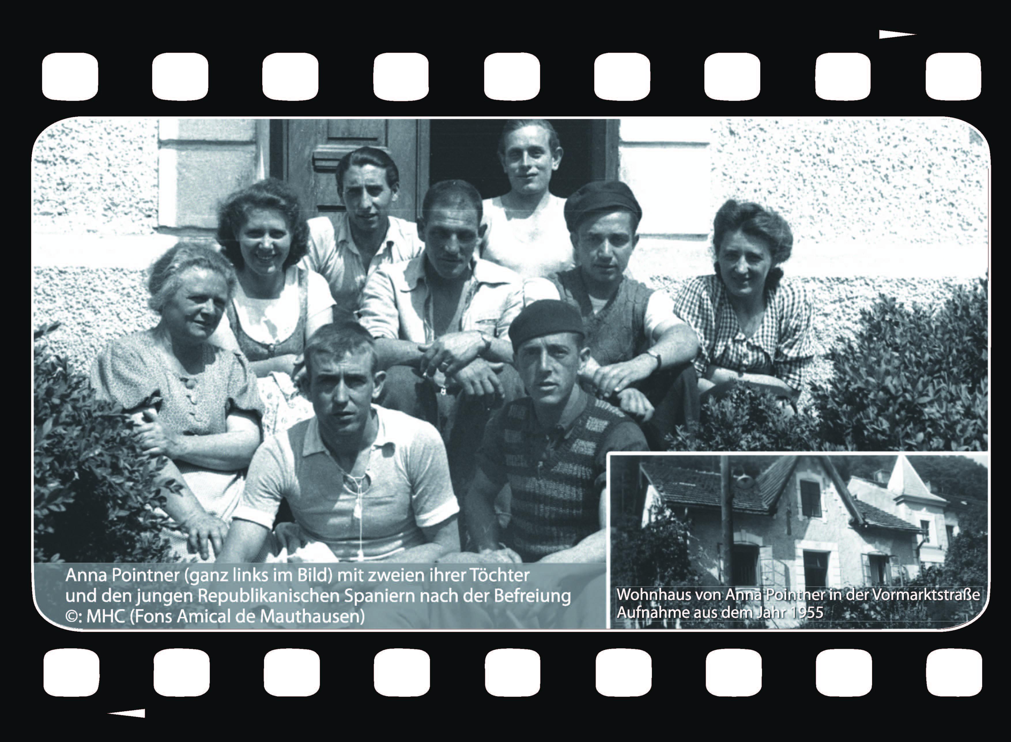 Anna Pointner (ganz links im Bild) mit zweien ihrer Töchter und den jungen Republikanischen Spaniern nach der Befreiung